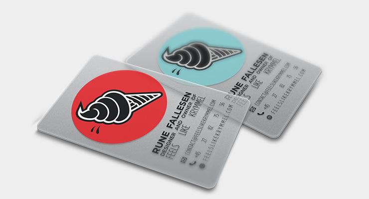 Transparente visitkort med tryk